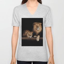 Lion and lioness, animals family. Portrait in the dark Unisex V-Neck