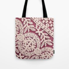 lace on red Tote Bag