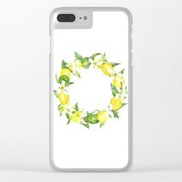 watercolor wreath lemon Clear iPhone Case