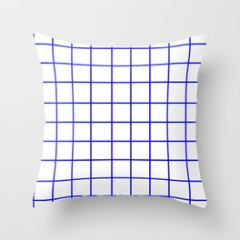 Grid (Blue/White) Throw Pillow