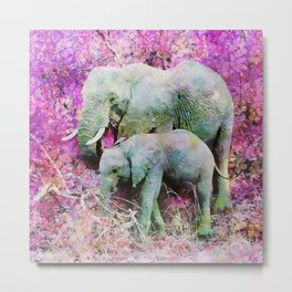 Elephant art mother child pink floral Metal Print