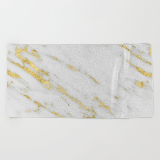 Marble - Shimmery Gold Marble on White Pattern Beach Towel