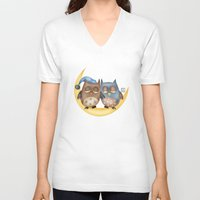 owls V-neck T-shirts featuring Owls by Catru