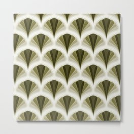 Olive Green and Ivory Retro Peacock Design Pattern Metal Print