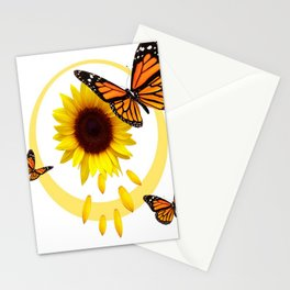 ORANGE MONARCH BUTTERFLIES & SUNFLOWER  PATTERN Stationery Cards