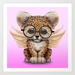 Cute Leopard Cub Fairy Wearing Glasses Pink Art Print
