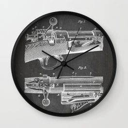 Bolt Action Rifle Patent - Repeating Receiver Art - Black Chalkboard Wall Clock