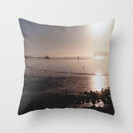 Water on Bay-Film Photograph Throw Pillow