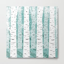 Birch Trees Teal Background Scandinavian Design Metal Print
