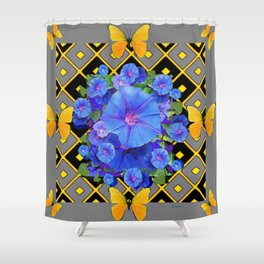 Golden Butterflies Blue Floral Grey Art Shower Curtain