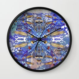 Tribal abstract blue Wall Clock