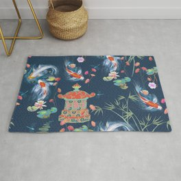 Japanese Watergarden with Pagoda - Navy Rug