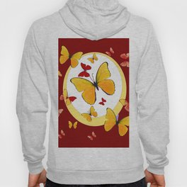 RED & YELLOW BUTTERFLIES &  YELLOW RING BURGUNDY ABSTRACT ART Hoody
