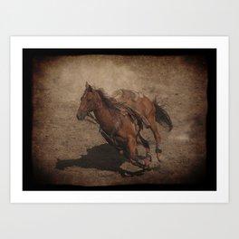 Break Away Rodeo Horse Art Print