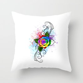 Patterned Rainbow Rose Throw Pillow