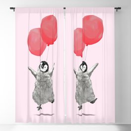 Flying Baby Penguin in Pink Blackout Curtain