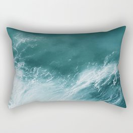 Teal Sea Waves Rectangular Pillow