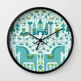 Fairytale Illustration in Blue Wall Clock