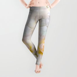 Romantic pastel roses on a paper textured background Leggings