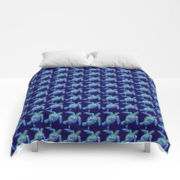 Sea Turtle Pattern Blue Comforters