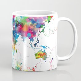 world map watercolor collage Coffee Mug