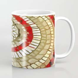 Mosaic Circular Pattern In Red and Gold Coffee Mug