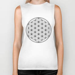 Flower of life in black, sacred geometry Biker Tank
