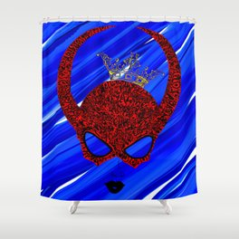 Horns, masked and crowned on blue Shower Curtain