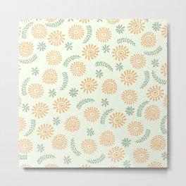 Pattern floral orange  Metal Print