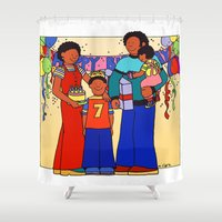 happy birthday Shower Curtains featuring Happy Birthday! by 2cute