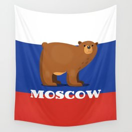 Moscow Bear and flag travel poster. Wall Tapestry
