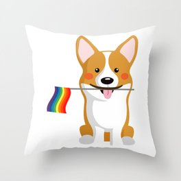 LGBT Gay Pride Flag Corgi - Pride Women Gay Men Throw Pillow