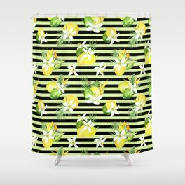 watercolor seamless pattern fresh summer Shower Curtain