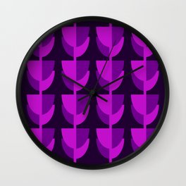 Tulips In Spring Time - Purple Magenta & Ultra Violet - Tulips in Springtime series Wall Clock