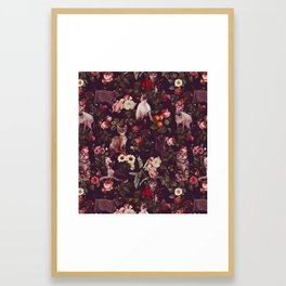 Cat and Floral Pattern Framed Art Print