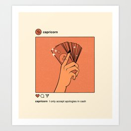 Capricorn Instagram Art Print
