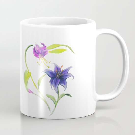 Stargazer Lilies Pink and Violet Mug