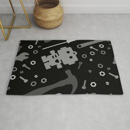 Techie Tools - black and grey Rug