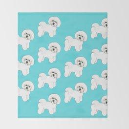 Bichon Frise on aqua / teal / cute dogs/ dog lovers gift Throw Blanket