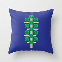 brussels Throw Pillows featuring Vegetable: Brussels Sprout Blue by Christopher Dina