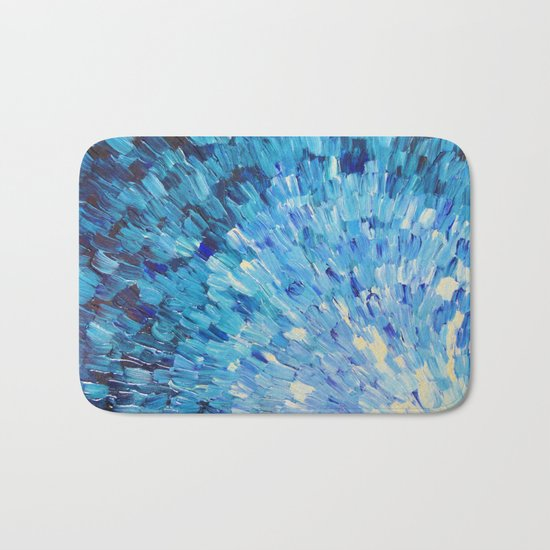 SEA SCALES IN INDIGO - Stunning Ocean Waves Mermaid Fish Navy Royal Blue Marine Abstract Painting Bath Mat