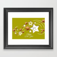 Olive and Umber Happy New Year Shooting Stars  Framed Art Print
