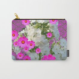 SNOW WHITE PHLOX & FUCHSIA  COSMOS FLOWERS  GARDEN ABSTRACT Carry-All Pouch