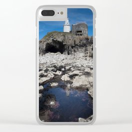 Bob's Cave at Mumbles Lighthouse Clear iPhone Case