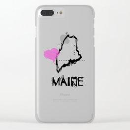 Love Maine State Sketch USA Art Design Clear iPhone Case