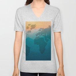 World map mountain Unisex V-Neck