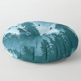 Redwood Forest Teal Adventure - National Parks Nature Photography Floor Pillow