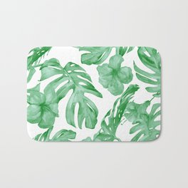 Tropical Island Leaves Green on White Bath Mat