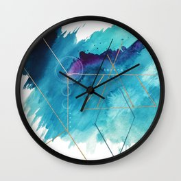 Galaxy Series [1]: an abstract mixed media piece in blue, purple, white, and gold Wall Clock