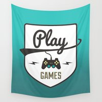 games Wall Tapestries featuring Play Games by luovia malleja